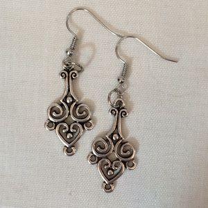 2/$15 Silver Heart Celtic Style Dangle Earrings